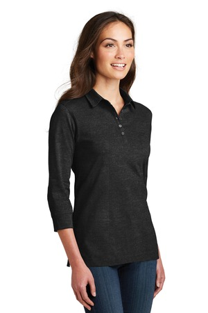 Port Authority® L578-Ladies Three Fourth Sleeve Meridian Cotton Blend Polo