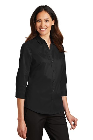 Port Authority® L665-Ladies Three fourth Sleeve SuperPro™ Twill Shirt