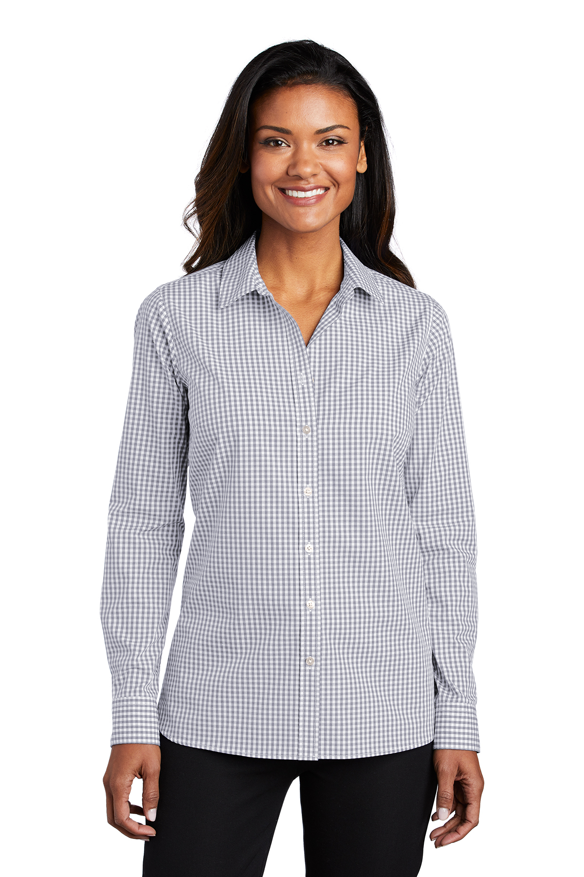 Port Authority LW644 - Ladies Broadcloth Gingham Easy ...