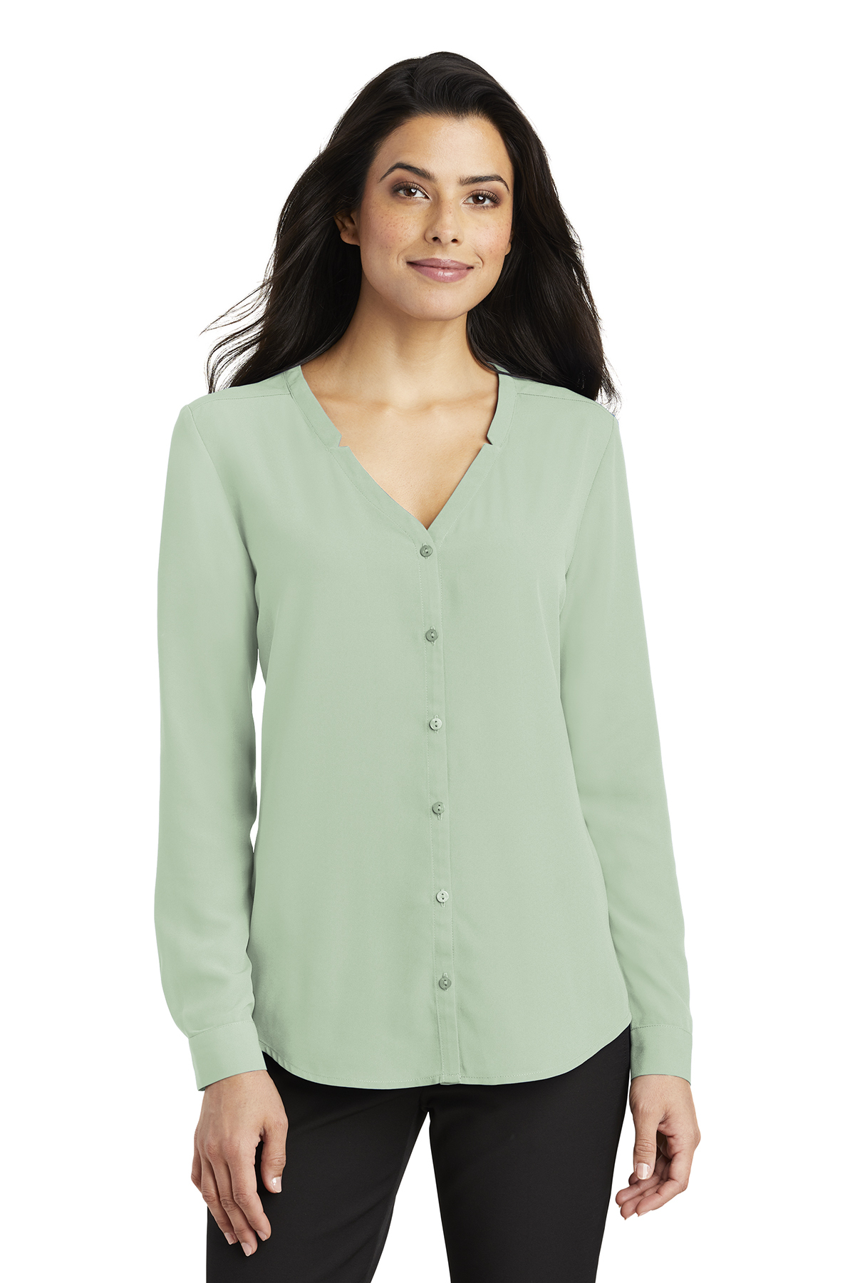 Port Authority LW700 - Ladies Long Sleeve Button-Front ...