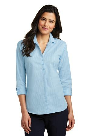 Port Authority LW643 - Ladies 3/4-Sleeve Micro Tattersall ...