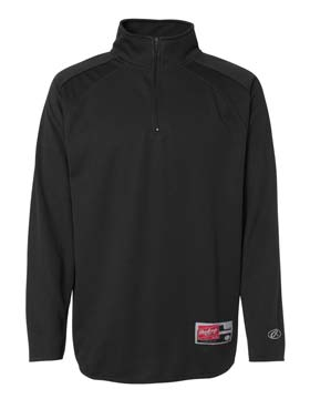 Rawlings RP9751 - Flat Back Mesh Pullover Home Plate Quarter Zip