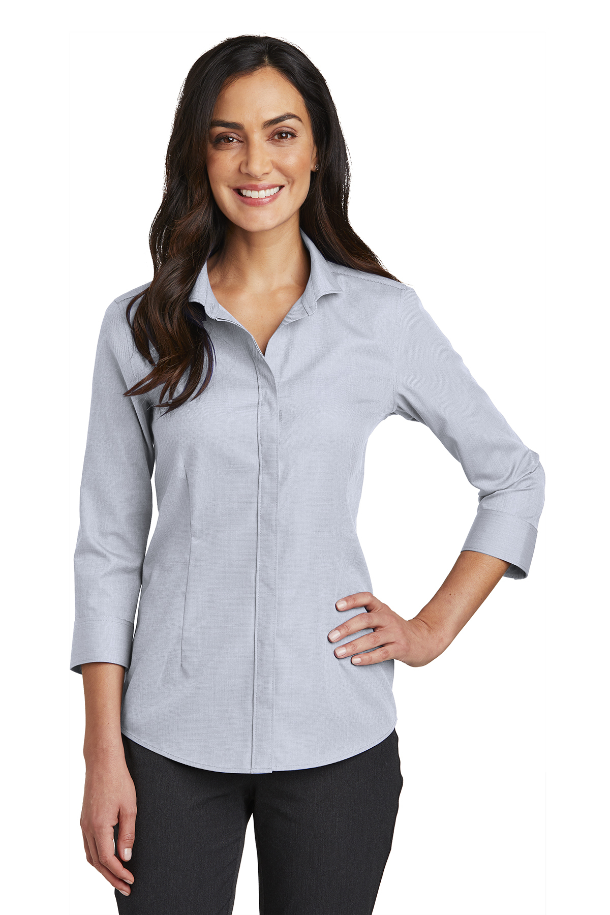 Red House RH690 - Ladies 3/4-Sleeve Nailhead Non-Iron Shirt