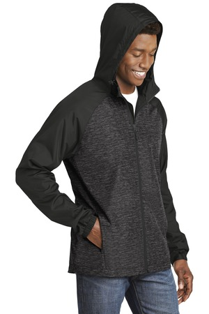Sport-Tek® JST40-Heather Colorblock Raglan Hooded Wind Jacket