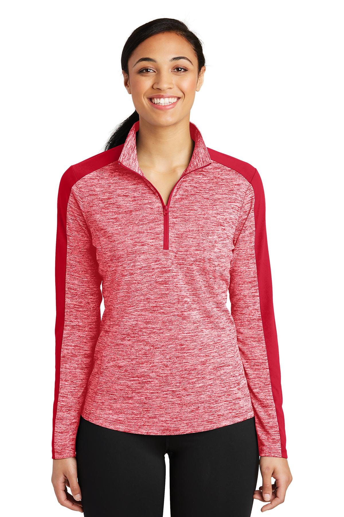 Sport-Tek® LST397 - Ladies PosiCharge® Electric Heather Colorblock 1/4 Zip Pullover