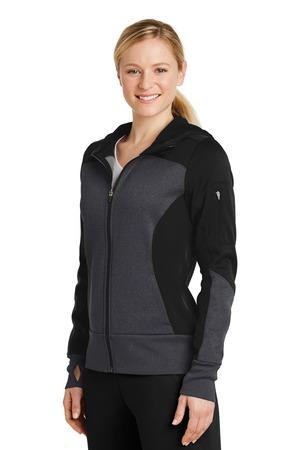 Sport-Tek® LST245-Ladies Tech Fleece Colorblock Full-Zip Hooded Jacket