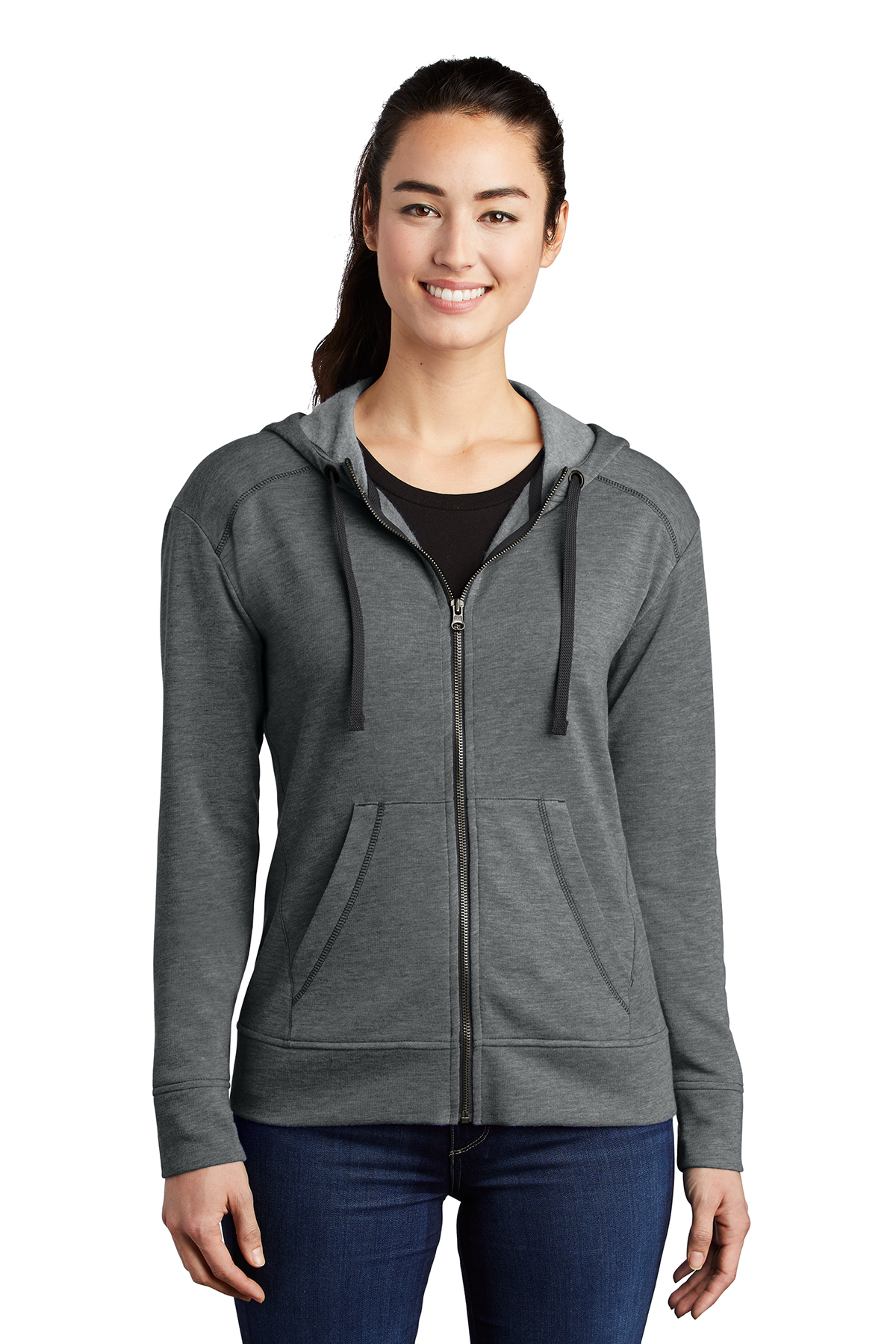 Sport-Tek LST293 - Ladies PosiCharge Tri-Blend Wicking Fleece Full-Zip Hooded Jacket