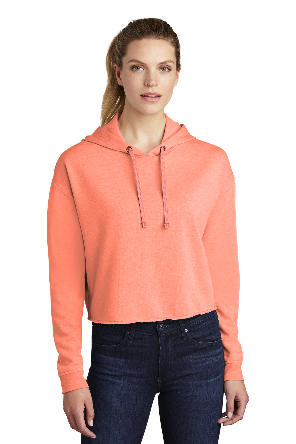 Sport-Tek LST298 - Ladies PosiCharge Tri-Blend Wicking Fleece Crop Hooded Pullover