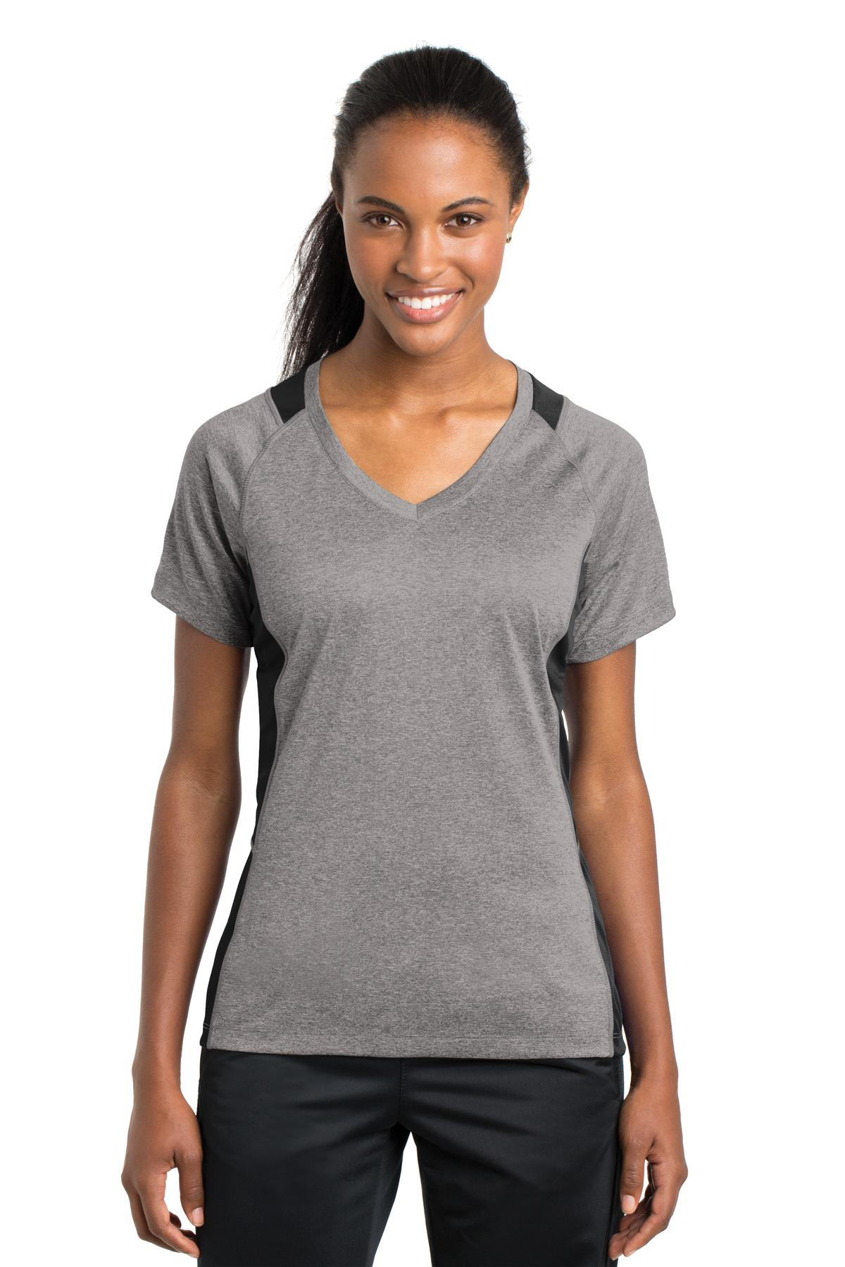 Sport-Tek® LST361 - Ladies Heather Colorblock Contender V-Neck Tee