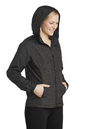 Sport-Tek® LST40-Ladies Heather Colorblock Raglan Hooded Wind Jacket