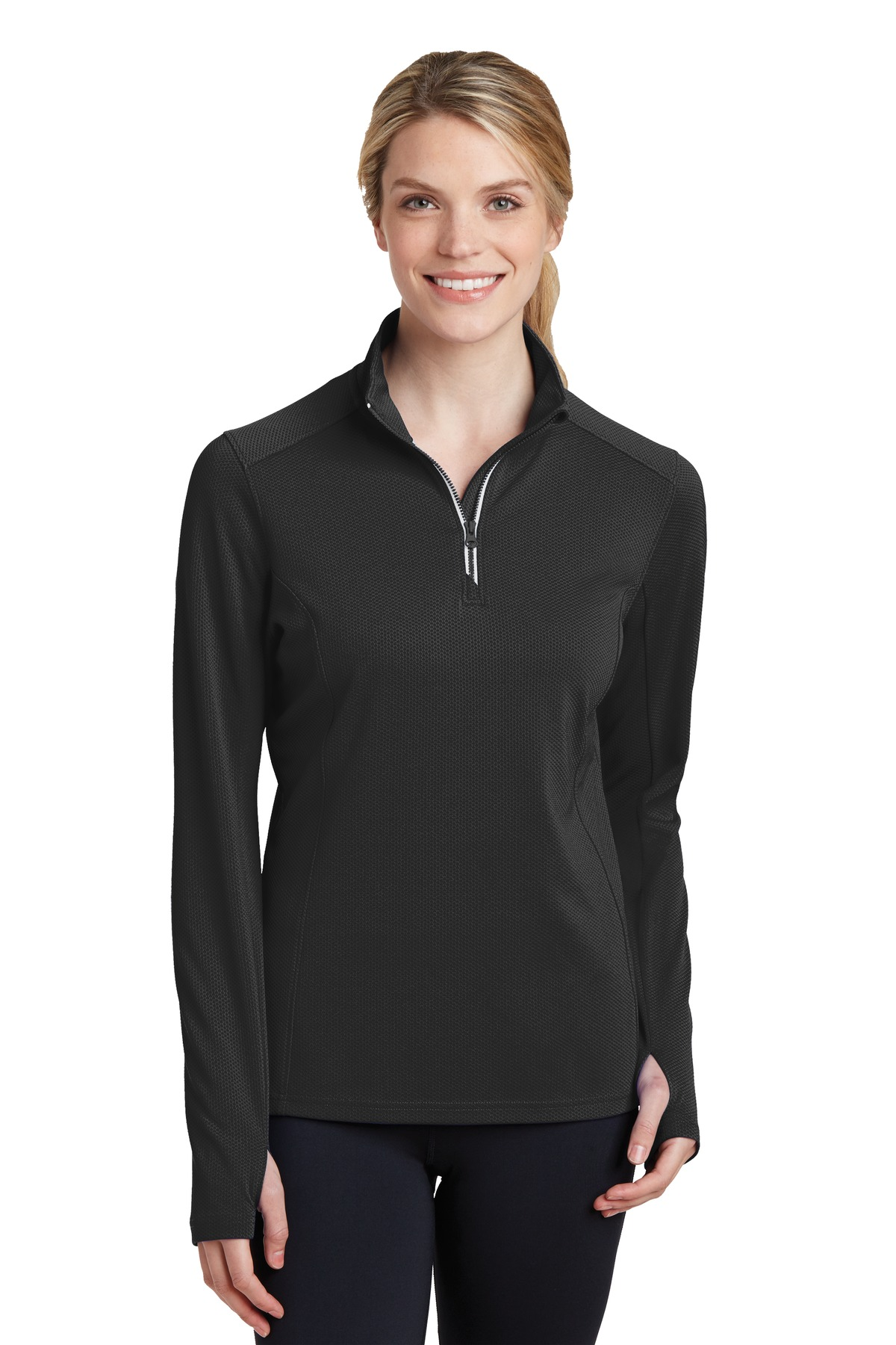 Sport-Tek  LST860 - Ladies Sport-Wick Textured 1/4-Zip ...