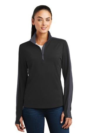 Sport-Tek  LST861 - Ladies Sport-Wick Textured Colorblock 1/4-Zip Pullover