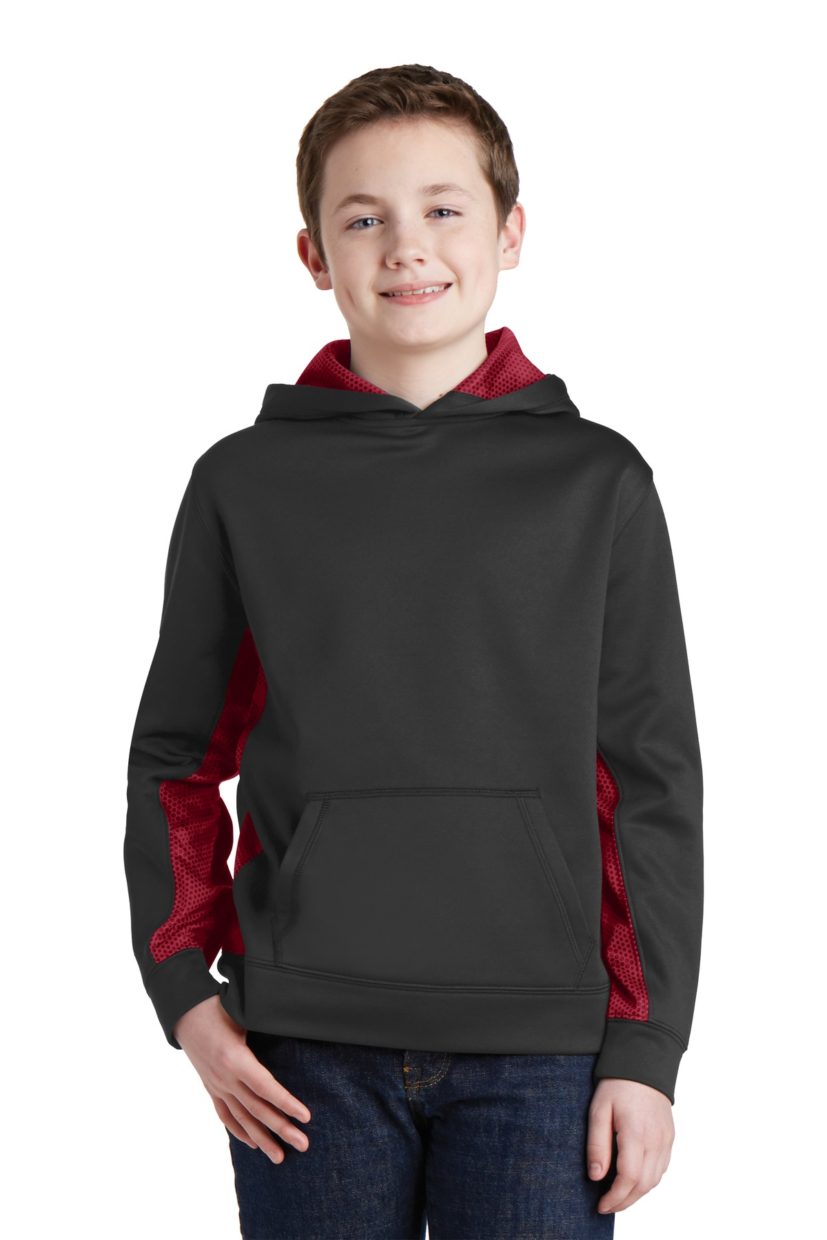 Sport-Tek  Youth Sport-Wick  YST239 - CamoHex Fleece Colorblock Hooded Pullover