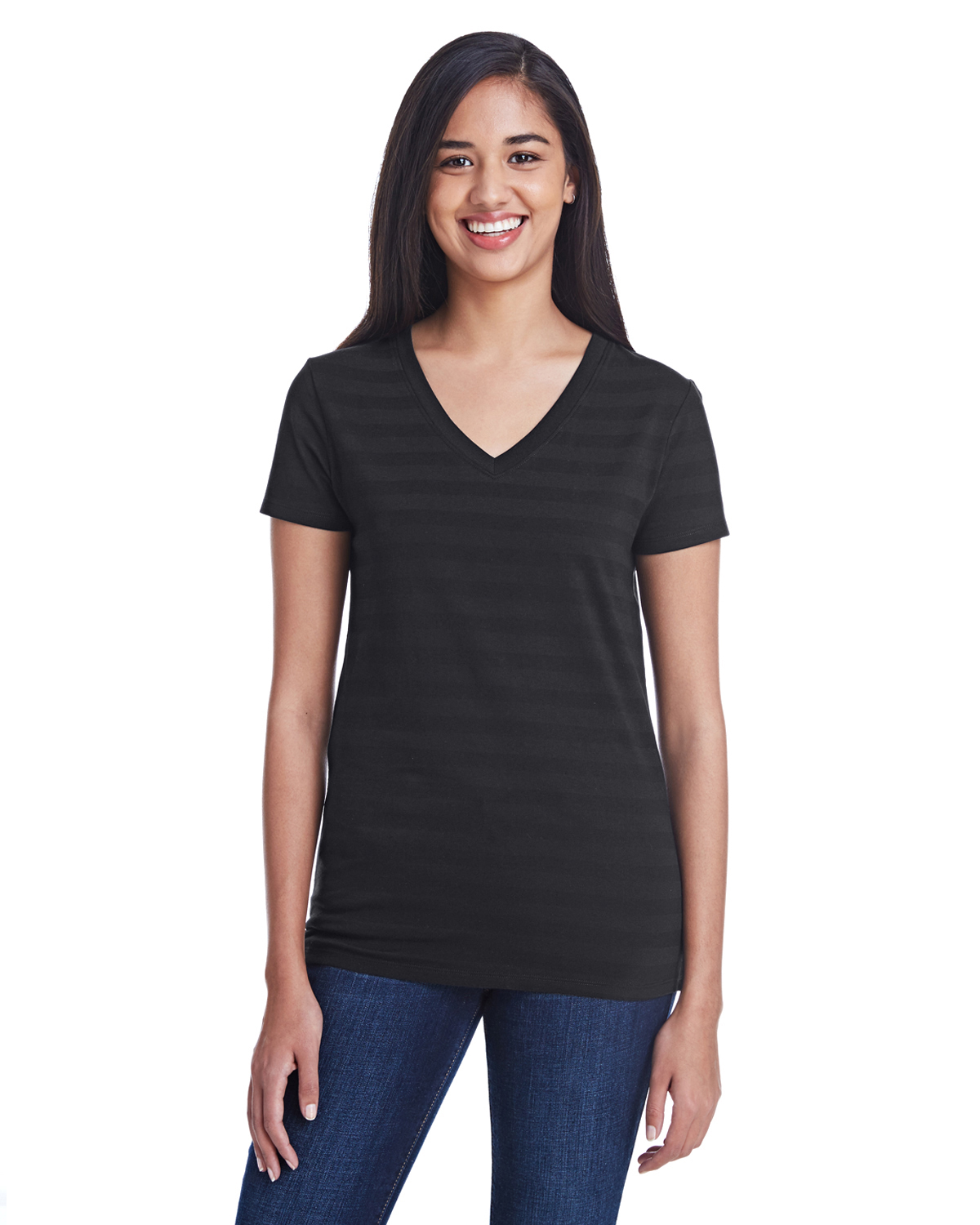 Threadfast Apparel 252RV - Ladies Invisible Stripe V-Neck T-Shirt