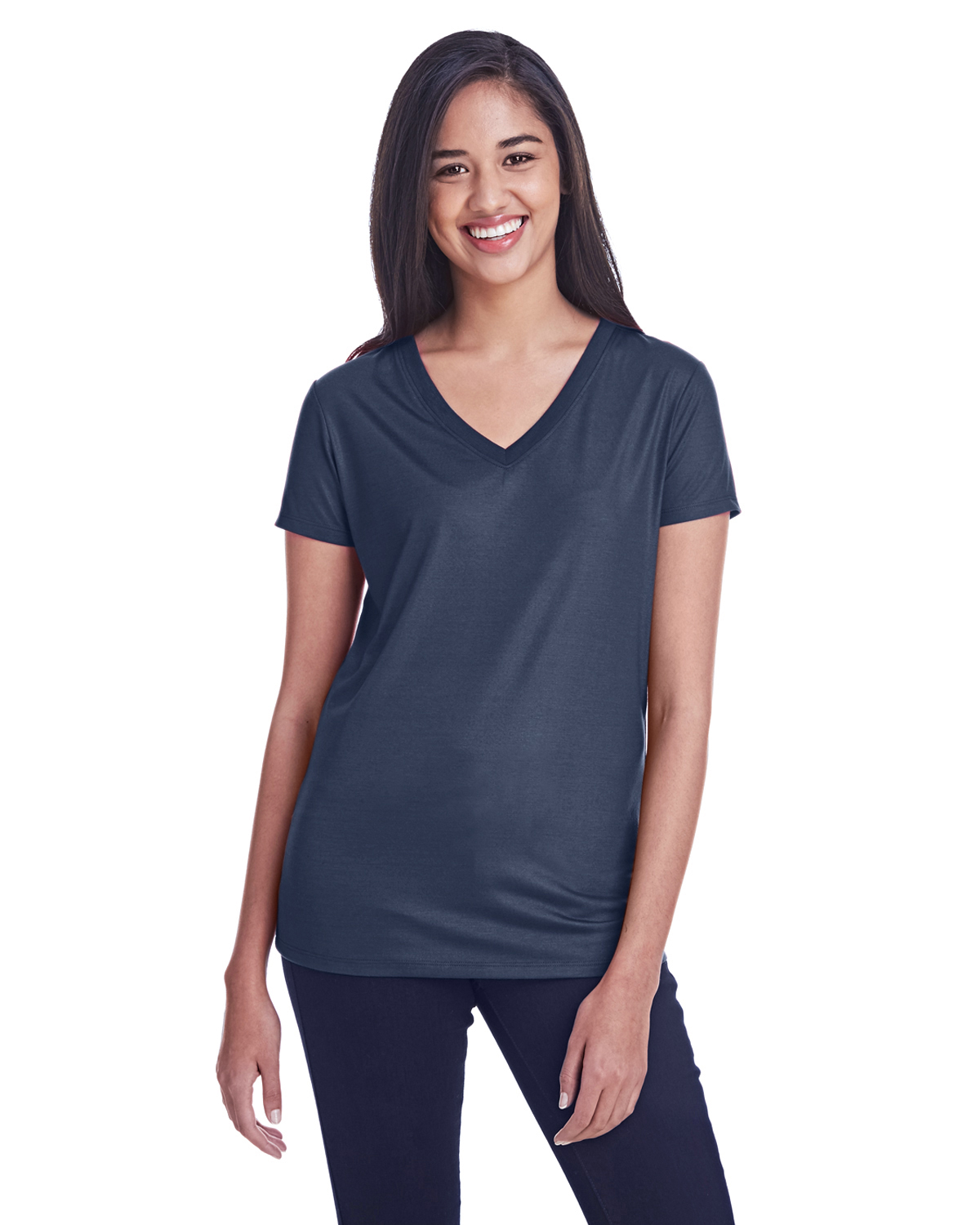 Threadfast Apparel 240RV - Ladies Liquid Jersey V-Neck T-Shirt