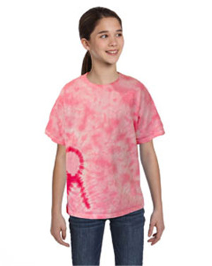 Tie-Dyed CD1150Y - Youth Pink Ribbon T-Shirt