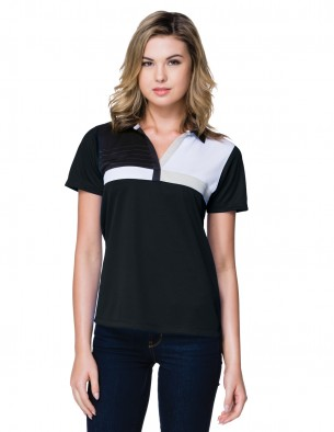 Tri-Mountain Gold KL109 - Women's polyester color block polo