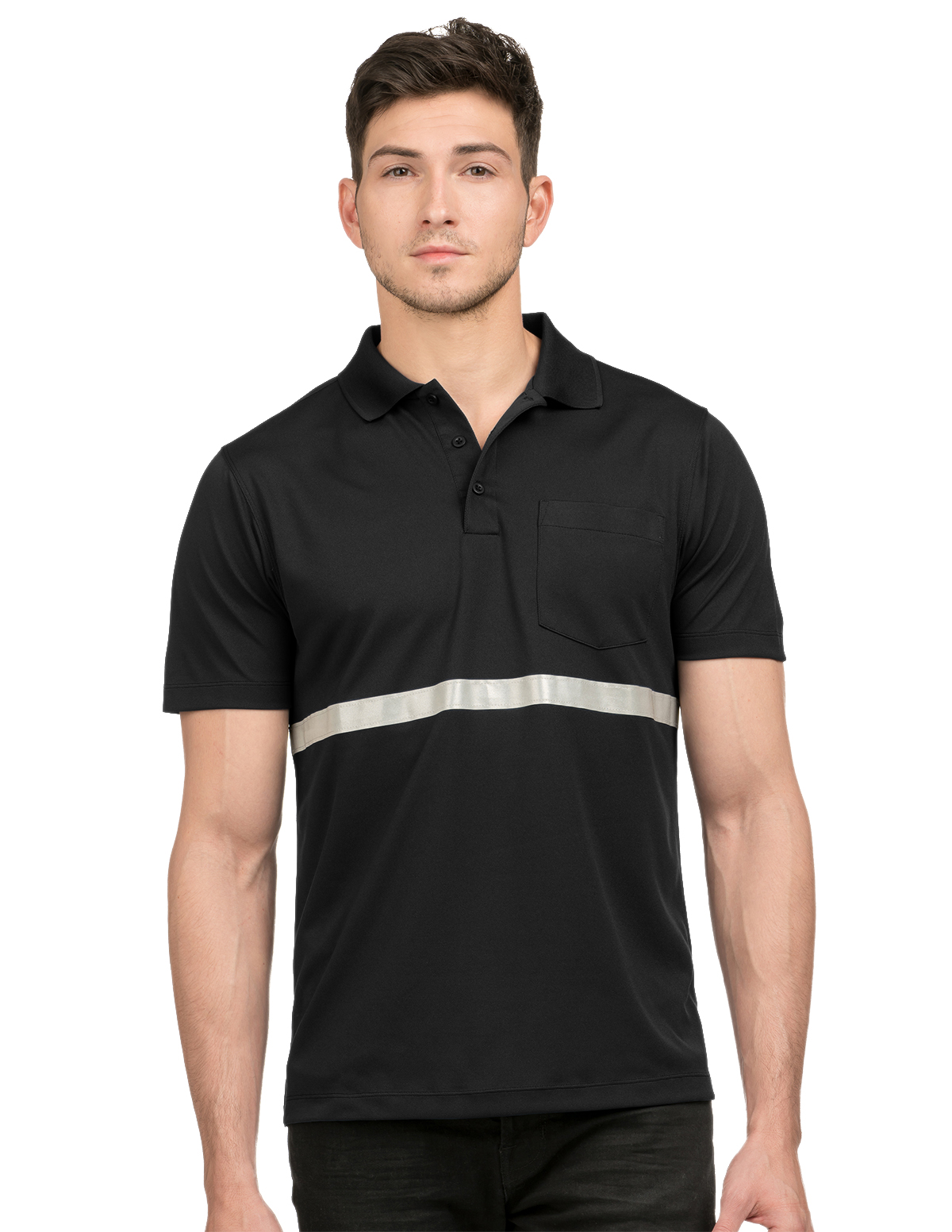 Tri-Mountain K035 - Civic Pocketed Polo with Reflective Tape