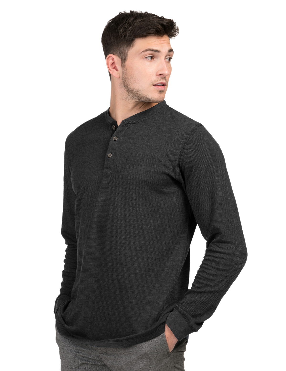 Tri-Mountain K516 - Heath Mini-Stripe Long Sleeve Henley