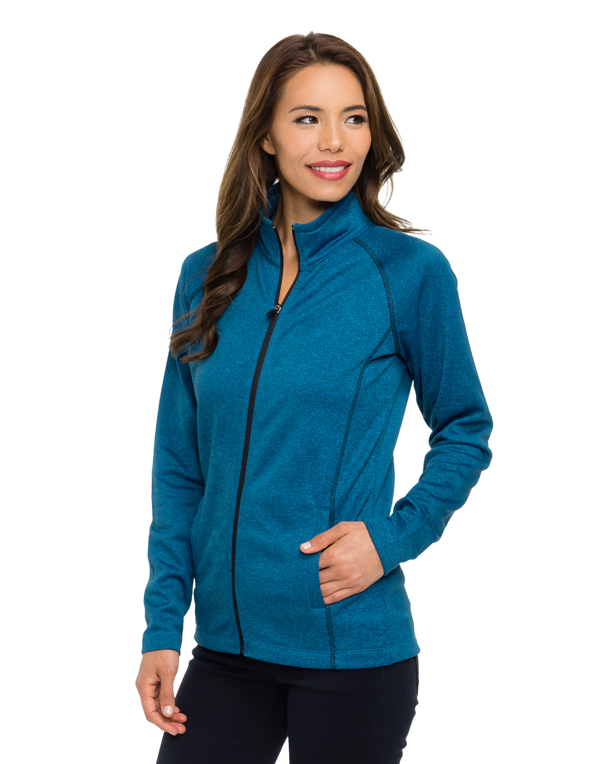 Tri-Mountain Performance FL7370 - Haze Women's 100% Polyester Heather Fleece Jacket