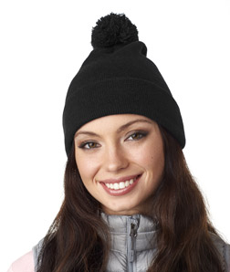 UltraClub 8136 - Knit Pom Pom Beanie with Cuff