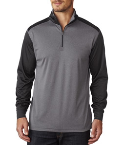UltraClub 8232 - Adult Cool Dry Sport Two Tone Quarter Zip Pullover