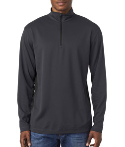 UltraClub 8237 - Adult Two Tone Keyhole Mesh Quarter Zip Pullover