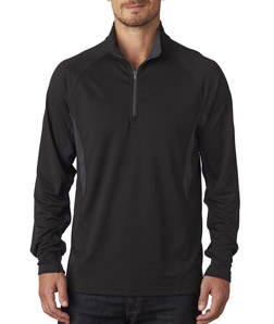 UltraClub 8434 - Adult Cool Dry Color Block Dimple Mesh Quarter Zip Pullover