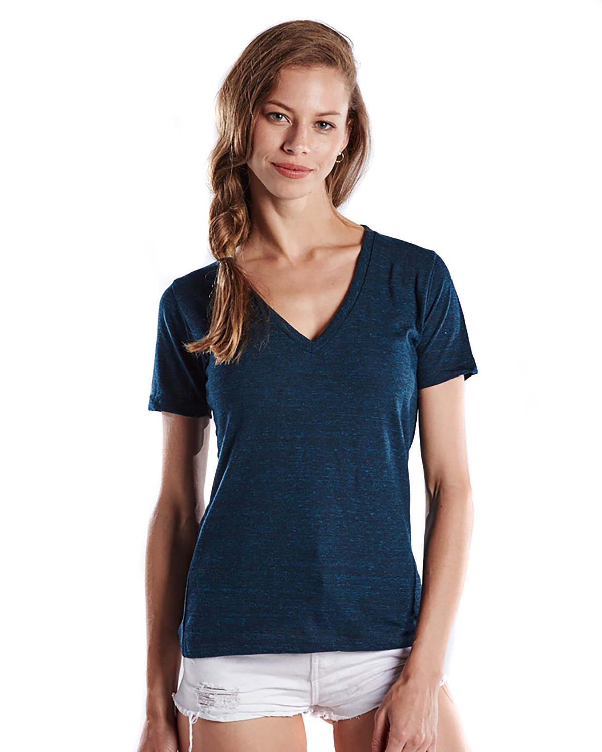 US Blanks US228OD - Ladies' 5.2 oz. Short-Sleeve Triblend Layer-Dyed V-Neck
