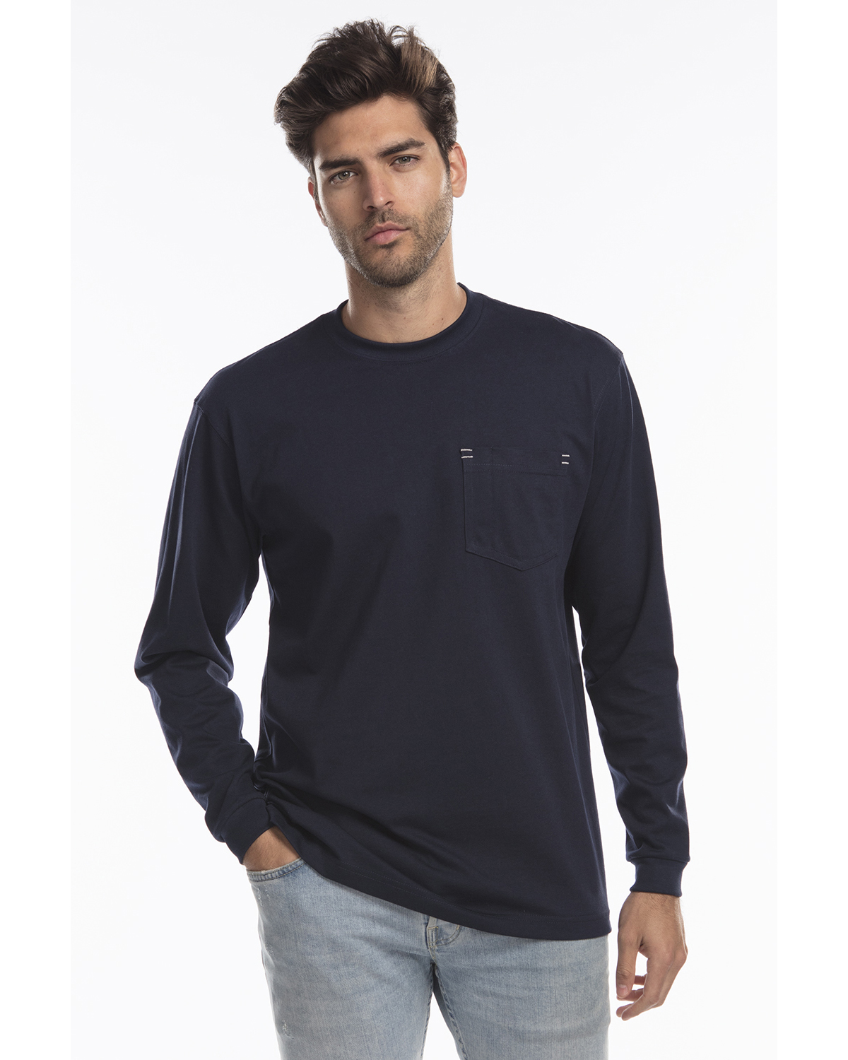 US Blanks US5544 - Men's Flame Resistant Long Sleeve Pocket T-Shirt