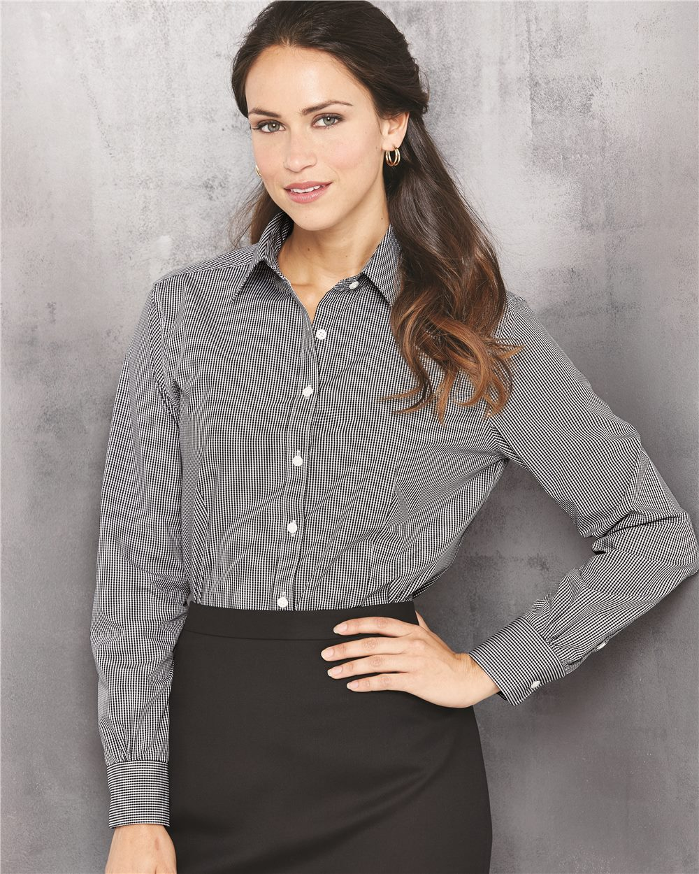 VAN HEUSEN 13V0226 - LADIES' LONG SLEEVE EASY CARE GINGHAM ...