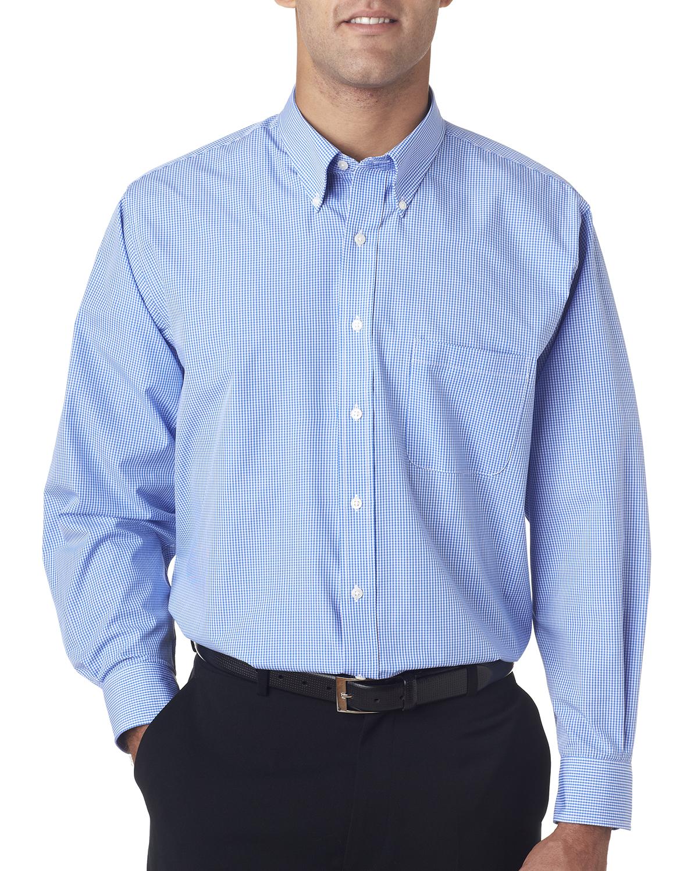 Van Heusen V0225 - Men's Long-Sleeve Yarn-Dyed Gingham Check Shirt
