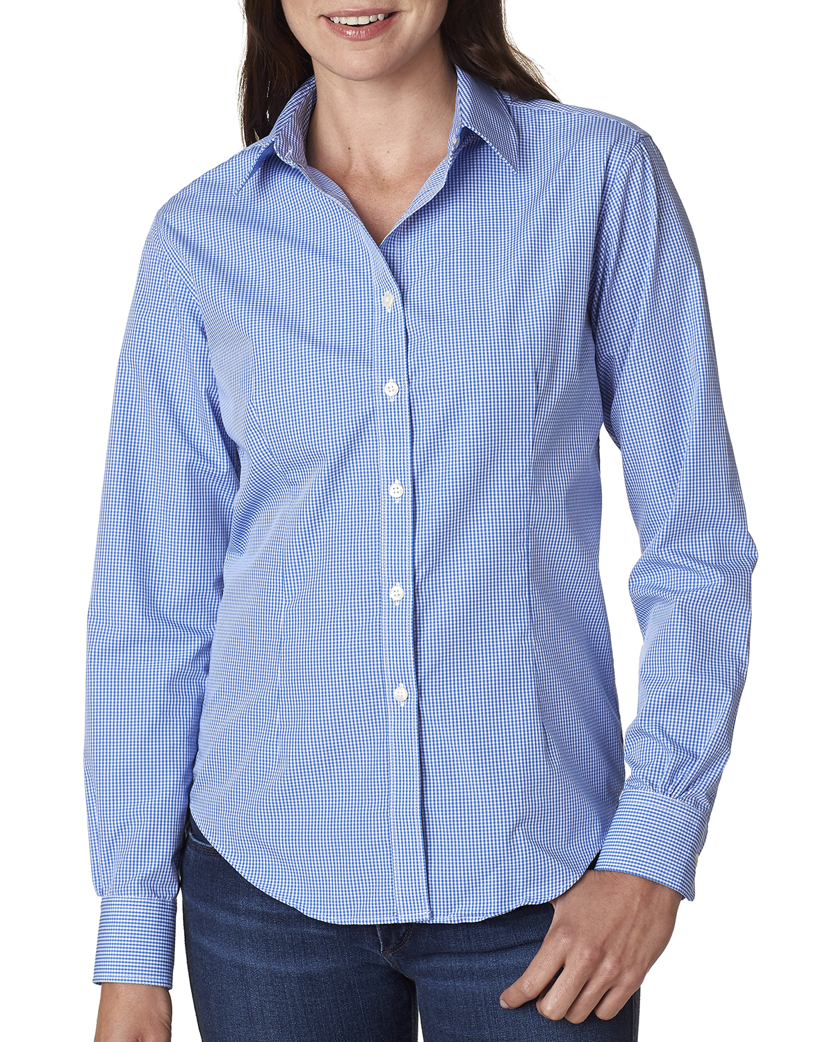 Van Heusen V0226 - Ladies' Long-Sleeve Yarn-Dyed Gingham Check Woven Shirt
