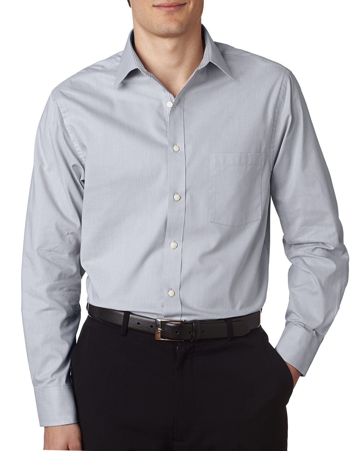 Van Heusen V0235 - Men's Long-Sleeve Feather Stripe Woven Shirt
