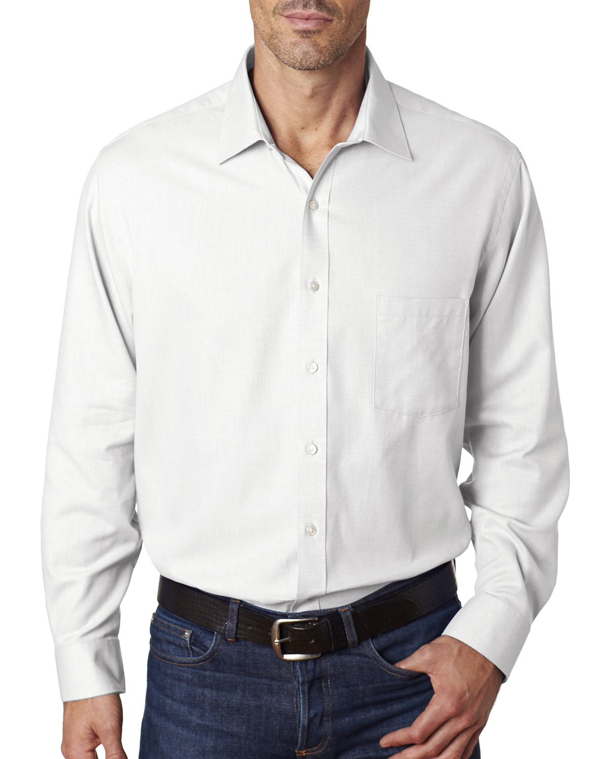 Van Heusen V0399 - Men's Long-Sleeve Ring-Spun Performance Twill Woven Shirt