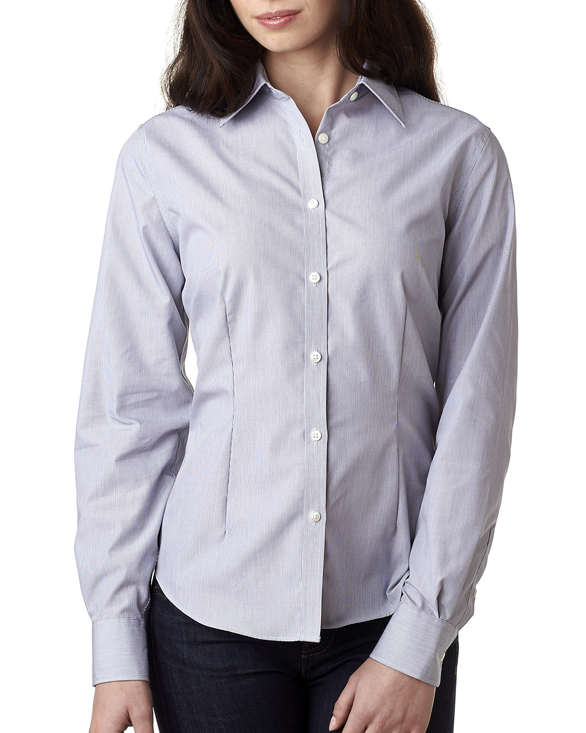 Van Heusen V0421 - Ladies' Long-Sleeve Non-Iron Feather Stripe