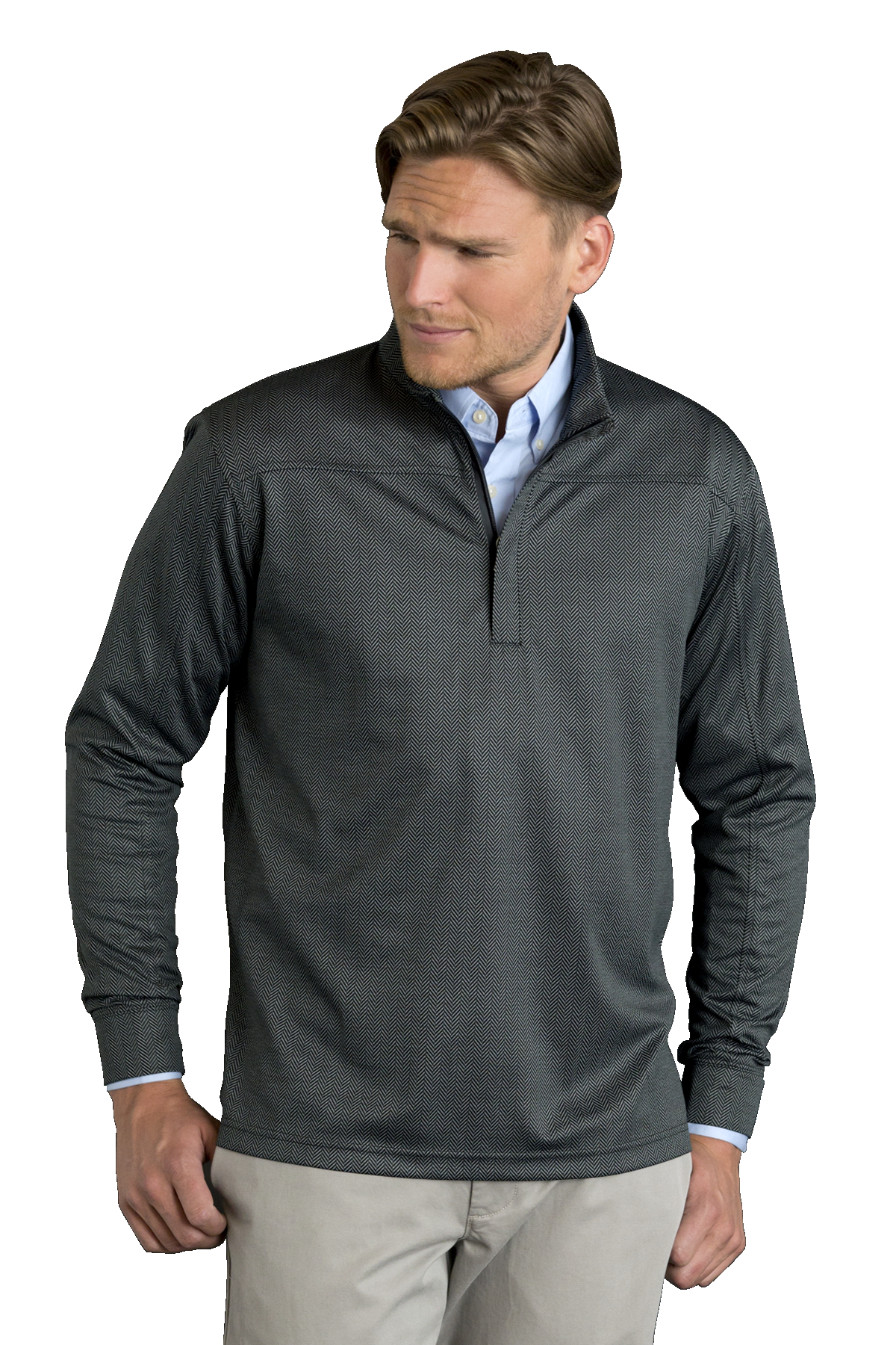 Vansport 3420 - Men's Pro Herringbone 1/4 Zip Pullover