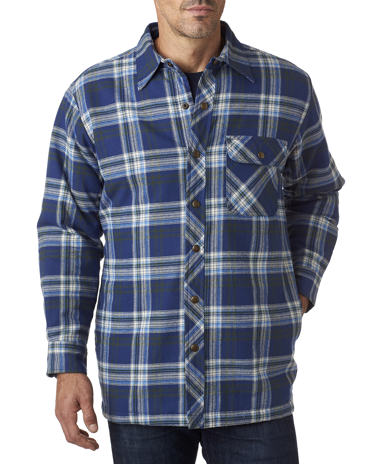 Backpacker bp7002 men 39 s flannel shirt jacket with quilt for Men flannel shirt jacket with quilted lining