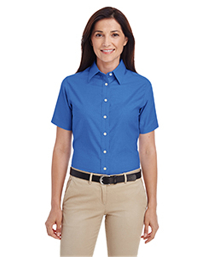 Harriton M600SW - Ladies' Short-Sleeve Oxford with Stain-Release