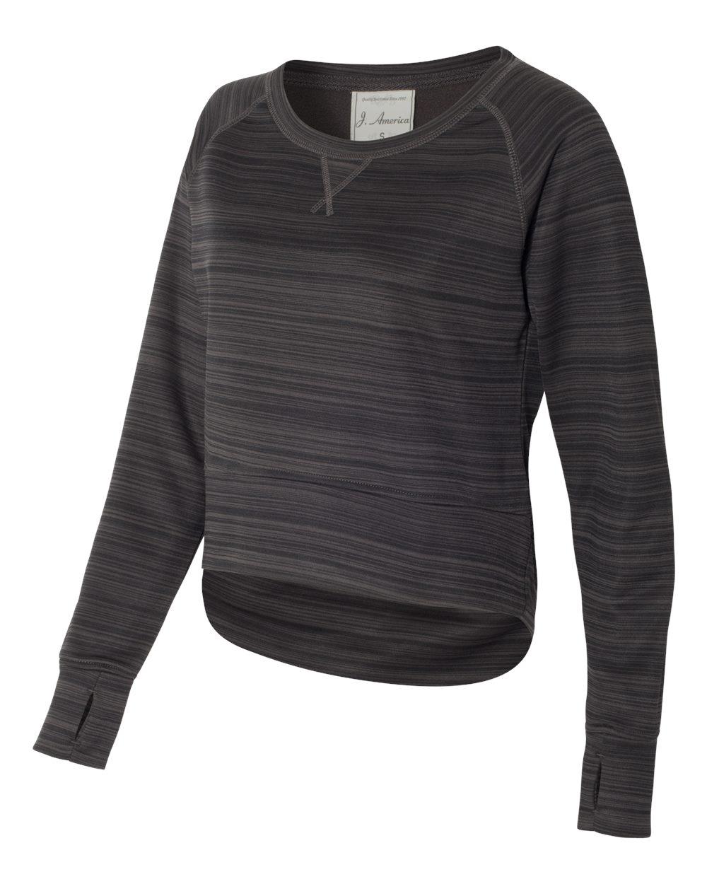 J. America 8663 - Women's Odyssey Striped Performance Fleece Hi-Lo Crewneck Sweatshirt