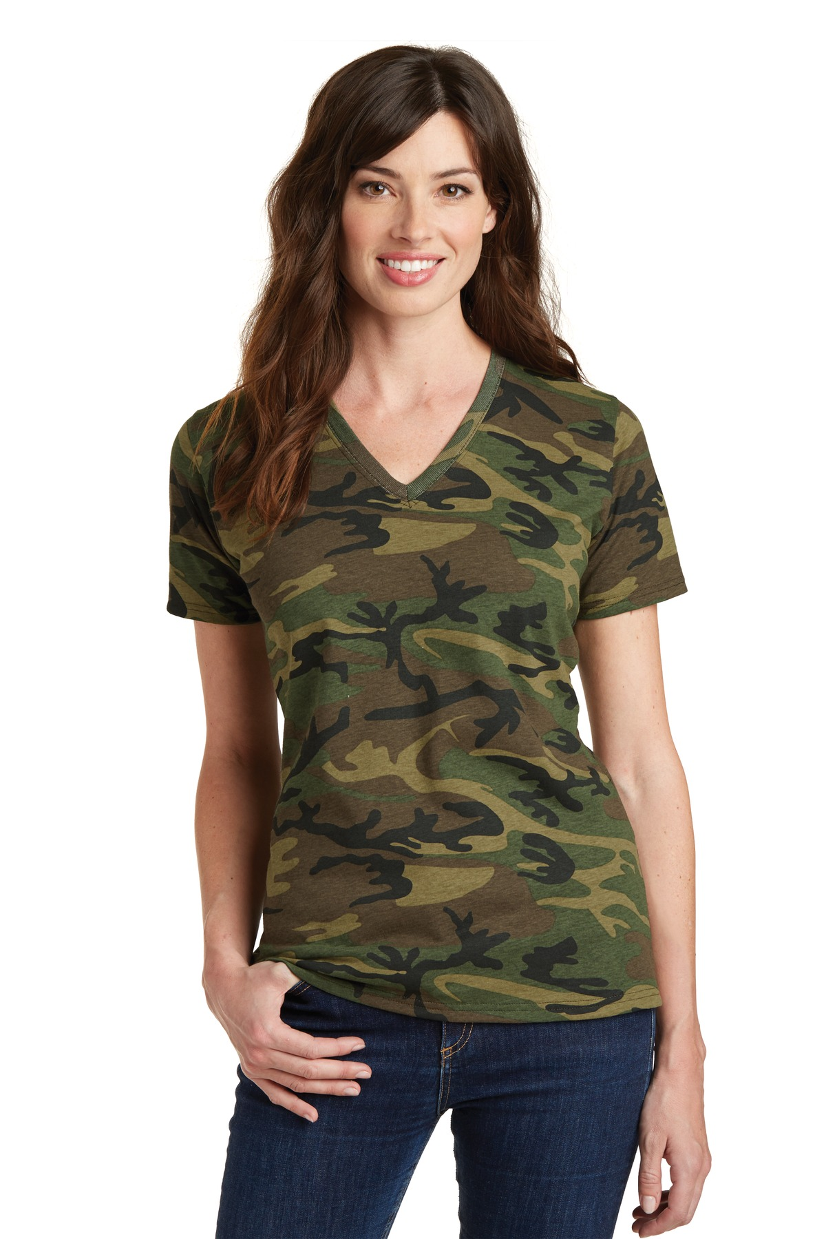 Port & Company  LPC54VC - Ladies 5.4-Oz 100% Cotton V-Neck Camo Tee