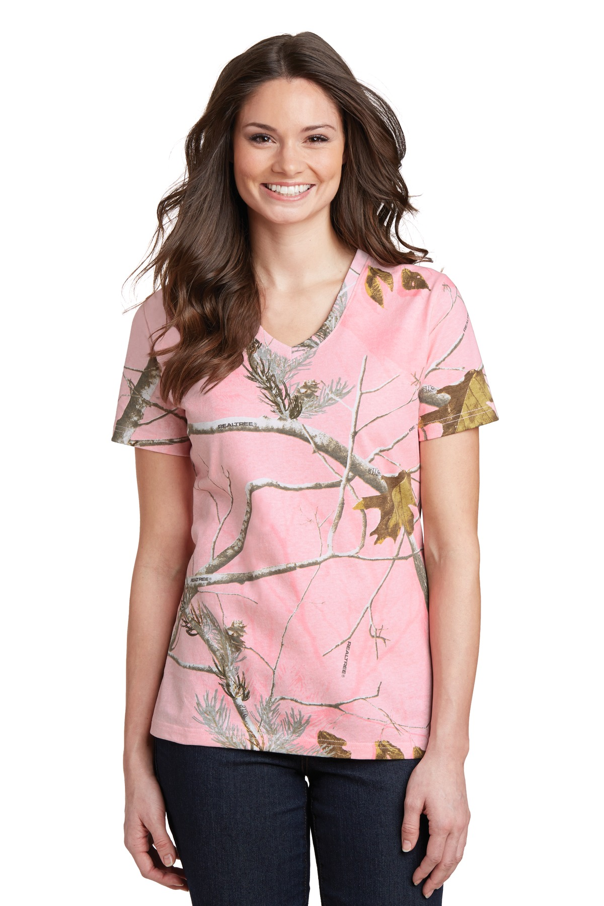 Russell Outdoors Realtree  LRO54V - Ladies 100% Cotton V-Neck T-Shirt