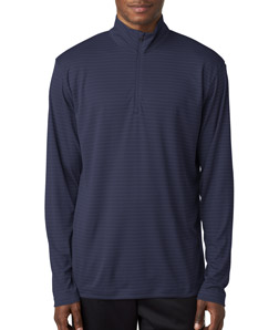 UltraClub 8235 - Adult Striped Quarter Zip Pullover