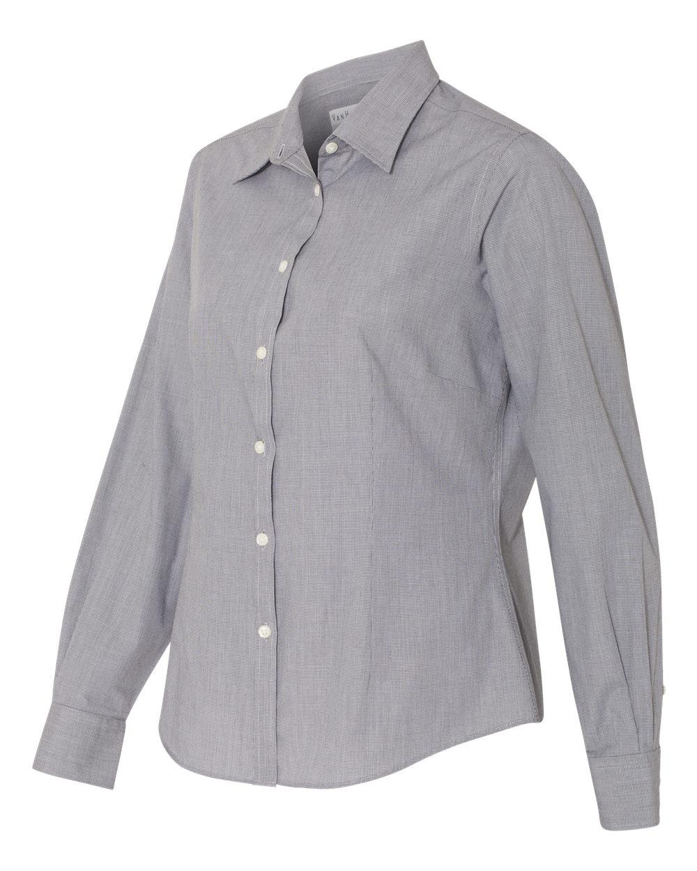 Van Heusen 13V0427 - Women's Yarn Dyed Mini Check Long Sleeve Shirt
