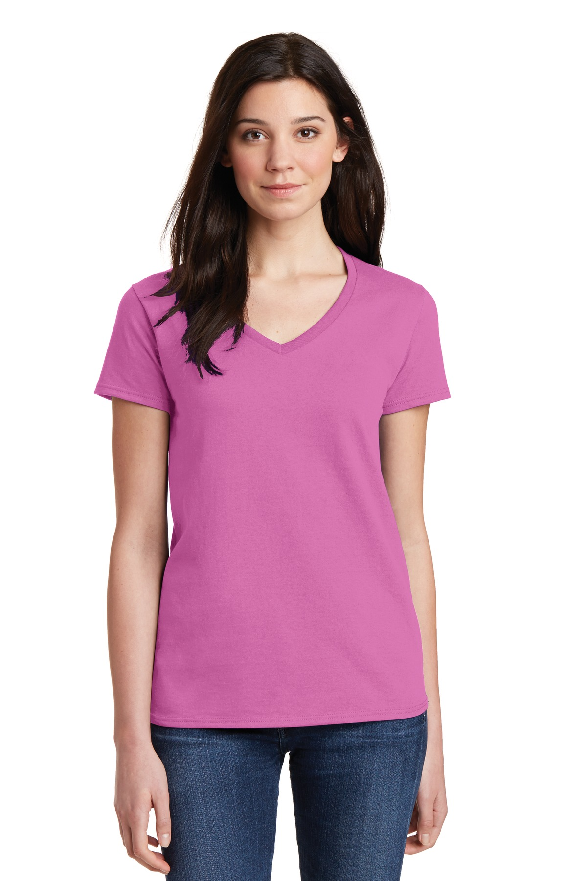 Gildan  5V00L - Ladies Heavy Cotton 100% Cotton V-Neck T-Shirt