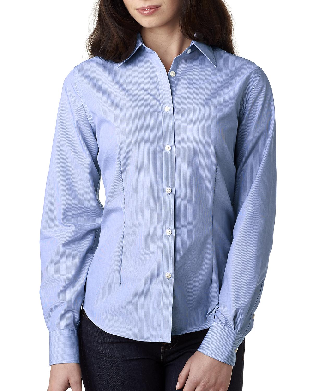 Van Heusen V0421 - Ladies' Long-Sleeve Non-Iron Feather Stripe