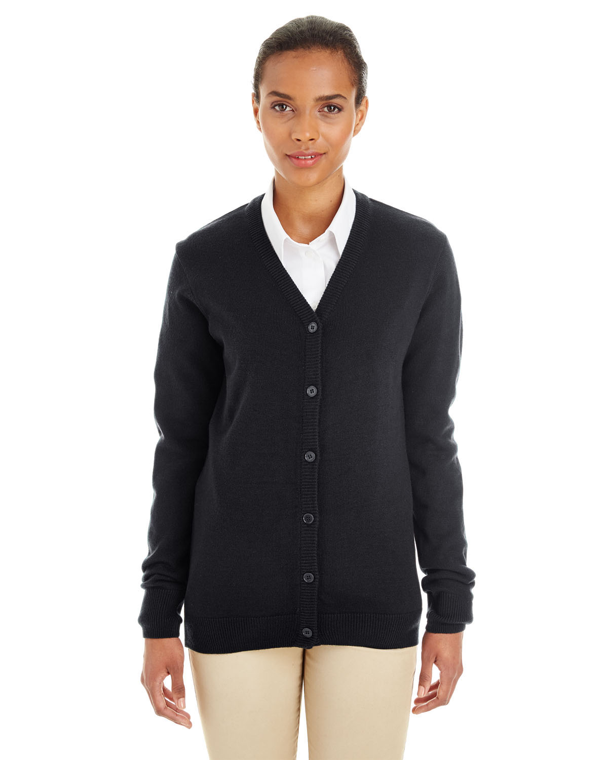 Harriton M425W - Ladies' Pilbloc™ V-Neck Button Cardigan Sweater