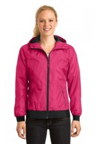 Sport-Tek® LST53 - Ladies Embossed Hooded Wind Jacket