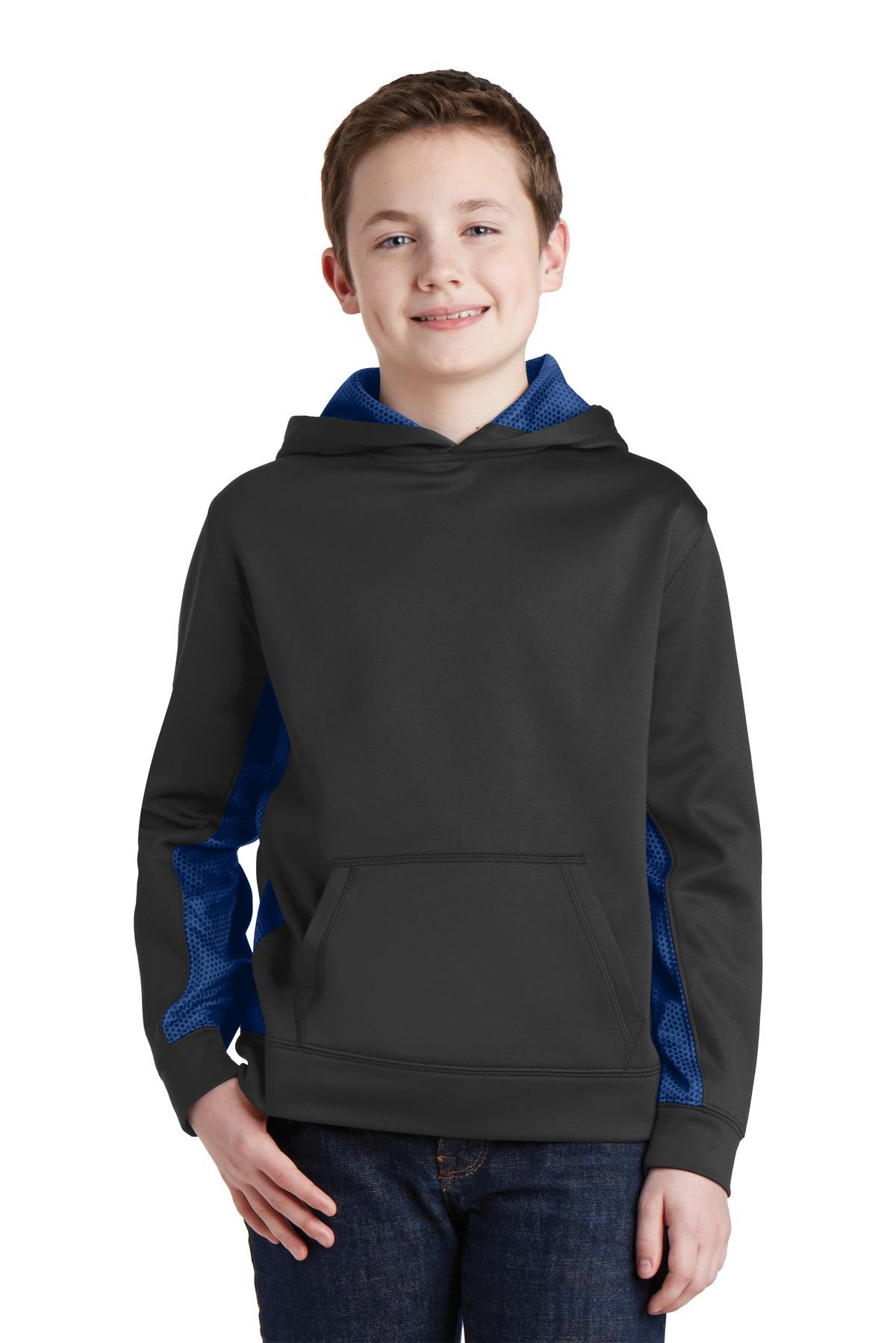 Sport-Tek  Youth Sport-Wick  YST239 - CamoHex Fleece Colorblock Hooded Pullover
