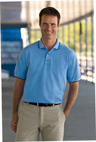 Gildan 32000  7 oz. Ultra Cotton Ringspun Pique Sport Shirt with Thin Stripe Collar and Cuffs